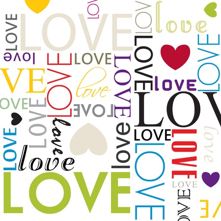 hartje cartoon: naadloze liefde hartvorm patroon Stock Illustratie