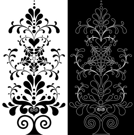 black and white backgrounds: Beautiful decoration floral design element