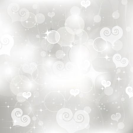 Glinsterende lichten zilver Valentijnsdag achtergrond van harten Stockfoto - 17753437