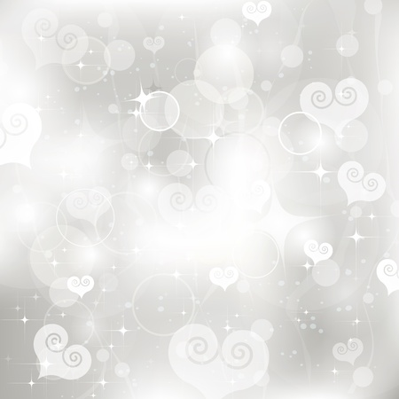 glittery lights silver Valentine s day background from hearts  Vettoriali