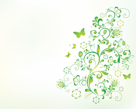 green butterfly: beautiful floral background illustration. Illustration