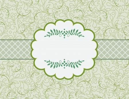 linework: vintage styled card with floral ornament background. Illustration