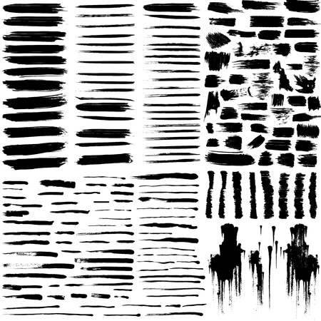 stroke: set of grunge brush strokes