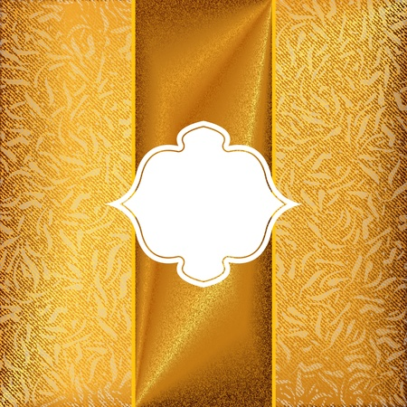 Gold invitation card with ornament motif background Vetores