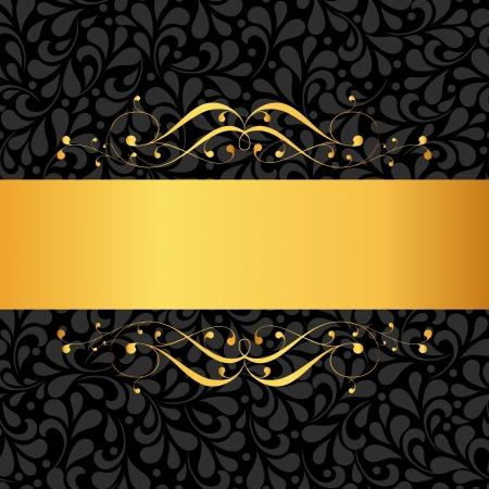 ruban or: Carte d'invitation d'or avec l'ornement motif de fond. Parfait comme une invitation ou une annonce.