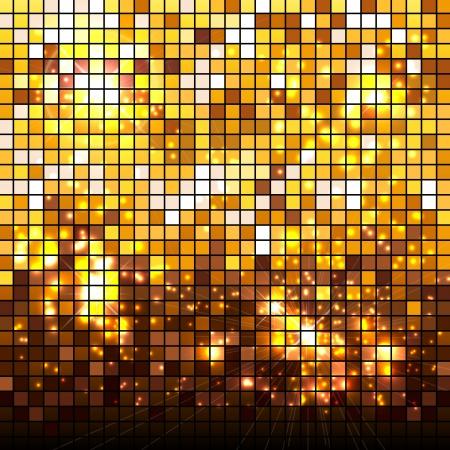 yellow block: Light golden mosaic background.  Illustration