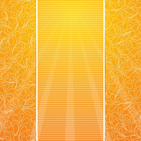 Vector festive summer gold card. Background with striped and  hand drawing flower. Stock Vector - 20172812