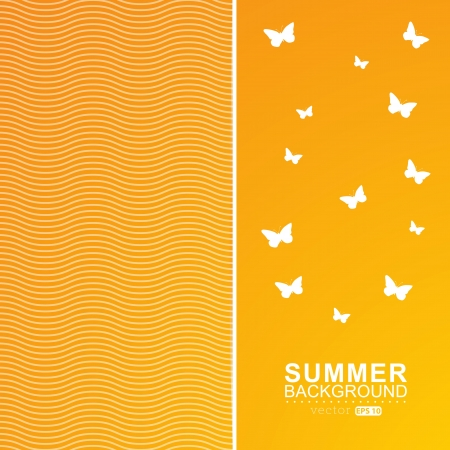 festive summer gold card. Background with wave line and butterfly. Vector
