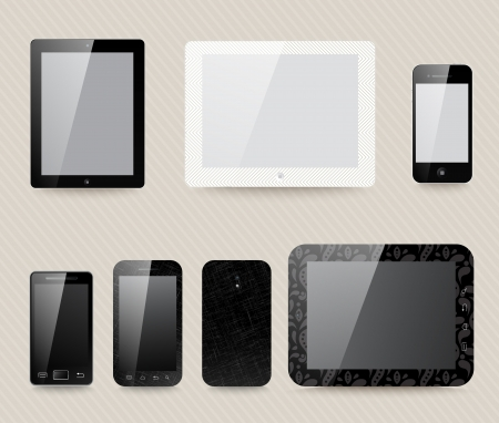 different generic models of tablet devices and smart phones. Vector