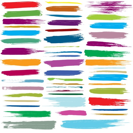set of colorful brush strokes. Illustration