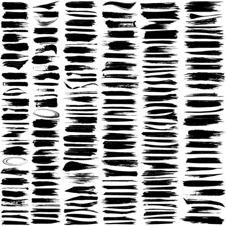 Large set of 180 different grunge brush strokes   Illustration