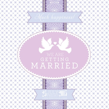 date of birth: Wedding card or invitation with floral ornament background  Perfect as invitation or announcement