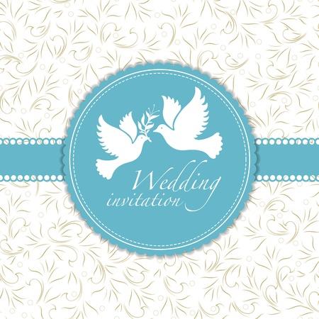 Trouwkaart of uitnodiging met bloemen ornament achtergrond Perfect als uitnodiging of aankondiging Stockfoto - 20587191