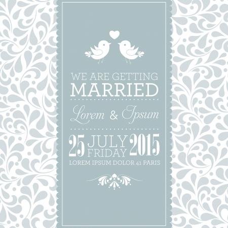 anniversario matrimonio: Partecipazione di nozze o invito con ornamento floreale sfondo Perfetto come invito o annuncio