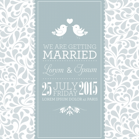 wedding frame: Wedding card or invitation with floral ornament background  Perfect as invitation or announcement