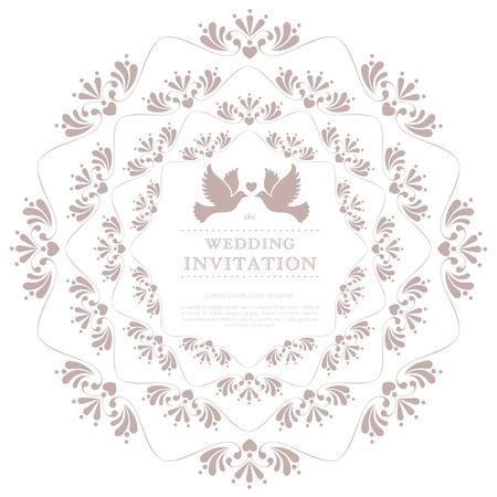 Carte de mariage ou d'invitation avec floral ornement de fond Parfait comme une invitation ou annonce Banque d'images - 20587121