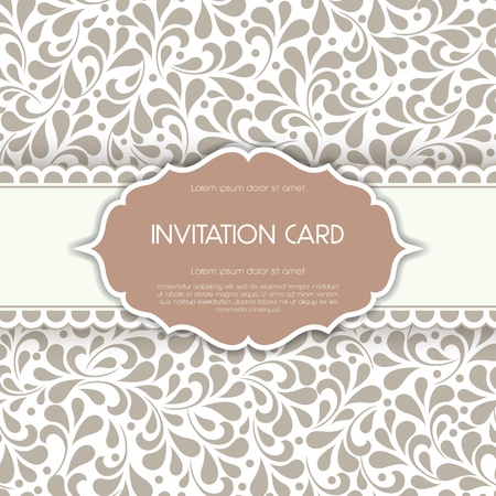 Vintage card with floral ornament design  Vector