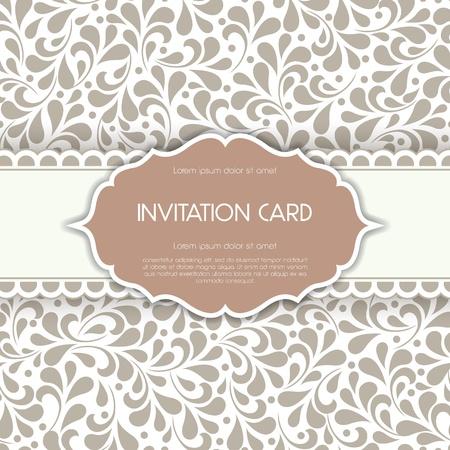 Vintage card with floral ornament design