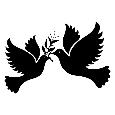 black and white image: A free flying white dove symbol   Illustration