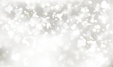 Glinsterende lichten zilver Valentine Stock Illustratie