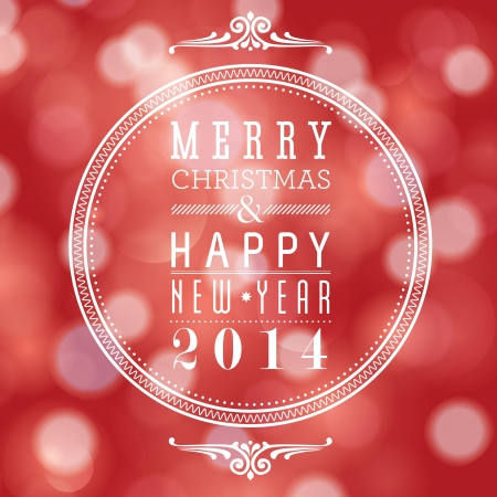 Merry Christmas and Happy New Year card design  Perfect as invitation or announcement  Vector