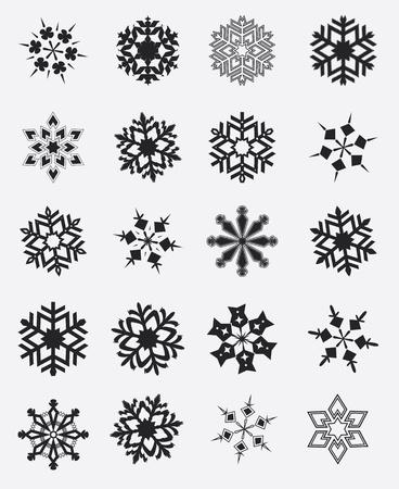 blue star: Snowflake winter set illustration