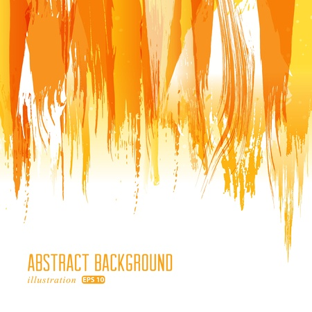 Orange abstract hand-painted brush stroke daub background  Vector