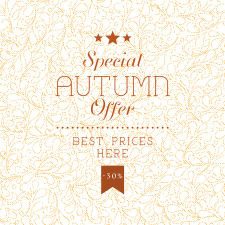Autumn sale retro poster with abstarct flower seamless background