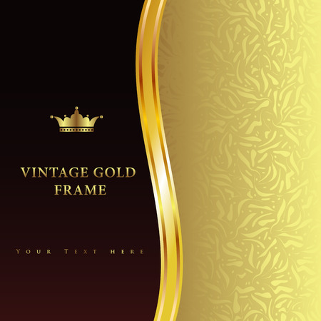 Vintage gold frame on black floral background Vector