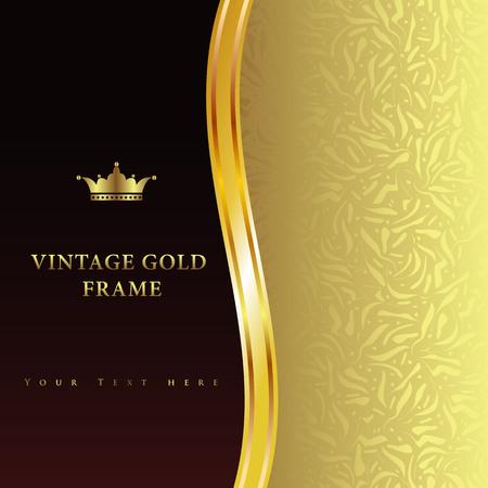 Vintage gold frame on black floral background Stock Vector - 22244744