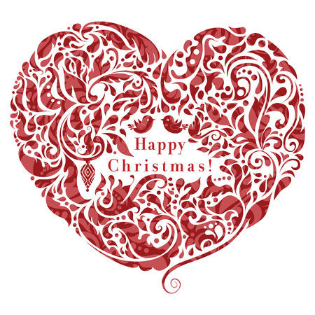 Abstract floral heart, creative Christmas card design   Vector