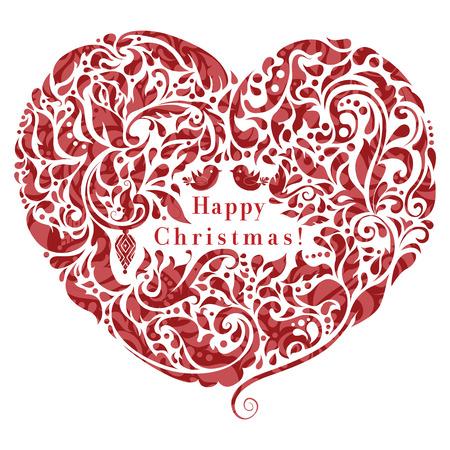 Abstracte bloemen hart, creatief ontwerp van de kerstkaart
