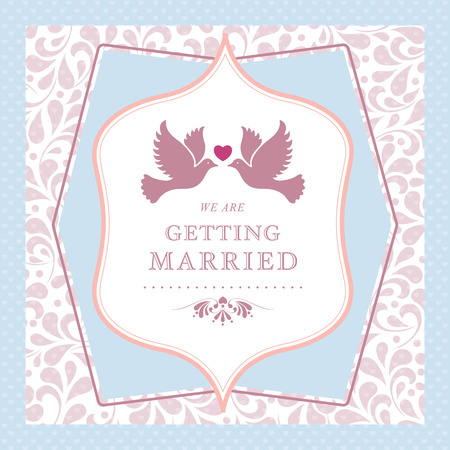 Wedding styled card with floral ornament design  Perfect as invitation or announcement   Vector