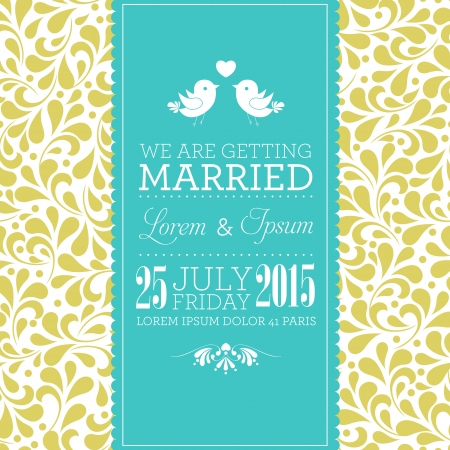 Wedding card or invitation with floral ornament background  Perfect as invitation or announcement  Vector