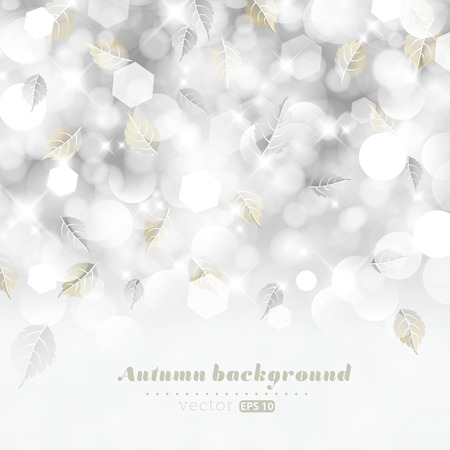 Glittery lights silver abstract autumn background  Vector