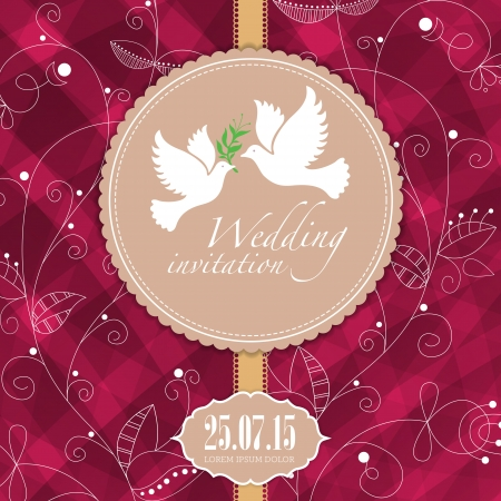wedding card or invitation with floral ornament background  Perfect as invitation or announcement   Stock Vector - 22243983