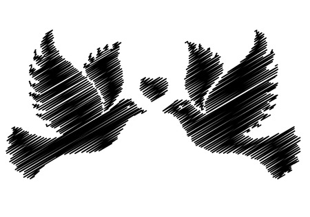 holy leaves: A free flying white dove symbol.