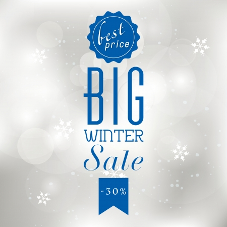shere: Winter sale poster with glittery lights silver abstract Christmas background.