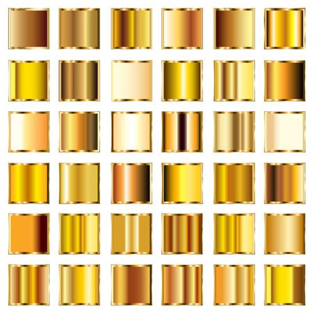 Set d'or ronde gradients boutons Banque d'images - 22489293