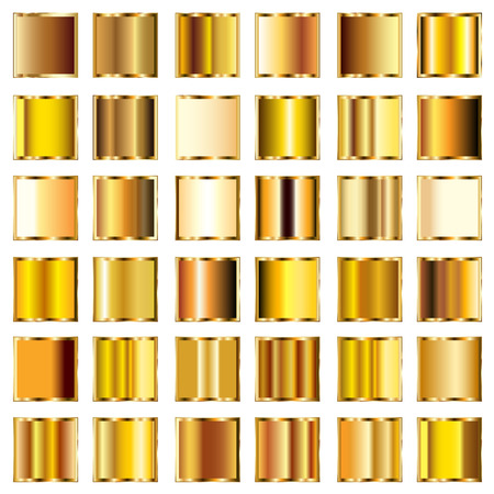 gold corner: Set of round gold gradients buttons