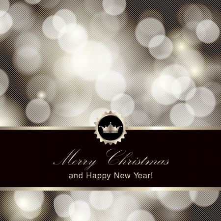 Glittery silver Merry Christmas and Happy New Year card design  Perfect as invitation or announcement   Vector