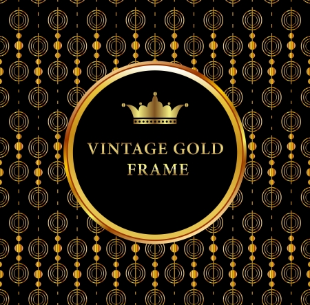 Vintage gold frame on black floral background  Perfect as invitation or announcement Stock Vector - 22489233