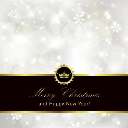 Glittery silver Christmas invitation background   Illustration