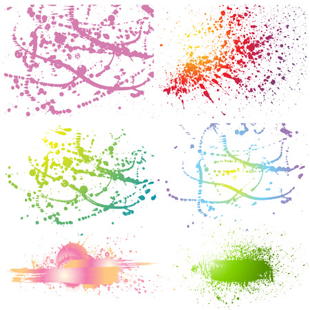 Set of grunge colorful paint stains