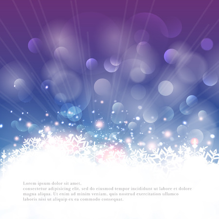 Winter bokeh background with snowflakes  Vector