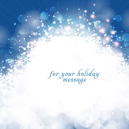 greetingcard: Winter bokeh background with snowflakes.