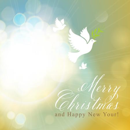 Vrolijk Kerstfeest en Gelukkig Nieuwjaar kaart ontwerp. Perfect als uitnodiging of aankondiging. Stock Illustratie