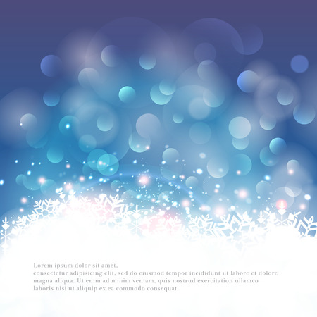 Winter bokeh background with snowflakes. Vector