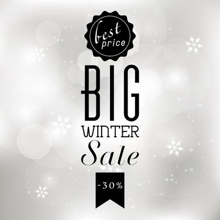 Winter verkoop poster met glitter verlichting zilveren abstracte achtergrond van Kerstmis. Stock Illustratie