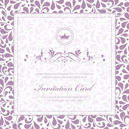Vintage styled card with floral ornament background. Perfect as invitation or announcement. Illustration